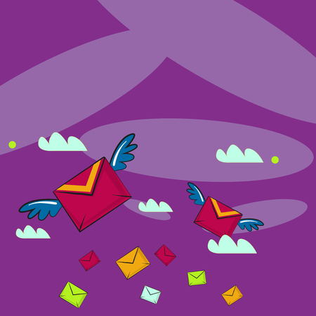 Many Colorful Airmail Flying Letter Envelopes and Two of Them with Wings Design business concept Empty template copy space text for Ad website isolated Ilustração