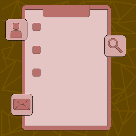 Clipboard with Tick Box and 3 Apps Icons for Assessment, Updates, Reminder Design business concept Empty copy space modern abstract background