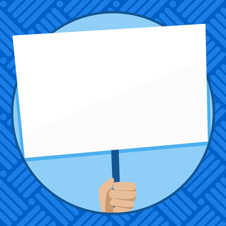 Hand Holding Blank White Placard Supported by Handle for Social Awareness Design business concept Empty copy space modern abstract background Stock Vector - 119347543