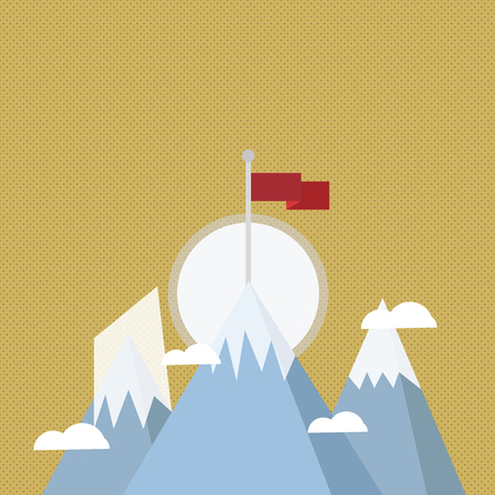 Three High Mountains with Snow and One has Blank Colorful Flag at the Peak Design business concept. Business ad for website and promotion banners. empty social media ad Ilustração