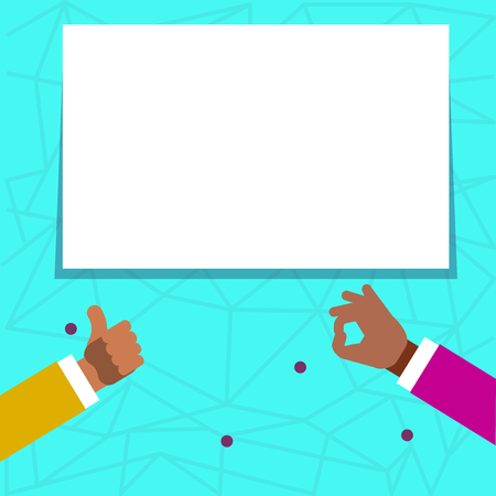 Two Businessmen Hands Gesturing the Thumbs Up and Okay Sign for Promotion Design business concept. Business ad for website and promotion banners. empty social media ad