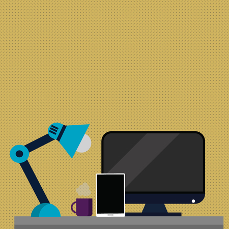 Arrangement of Workspace for Nightshift Worker with Computer,Tablet and Lamp Design business concept Empty copy text for Web banners promotional material mock up template