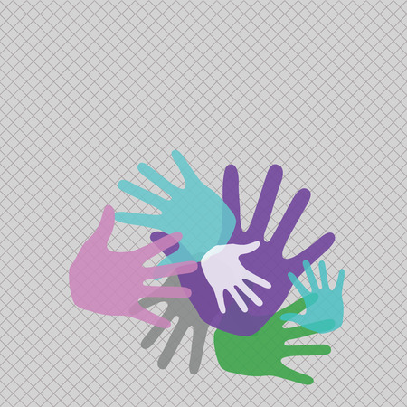 Color Hand Marks of Different Sizes Overlapping for Teamwork and Creativity Design business concept Empty template copy space text for Ad website isolated