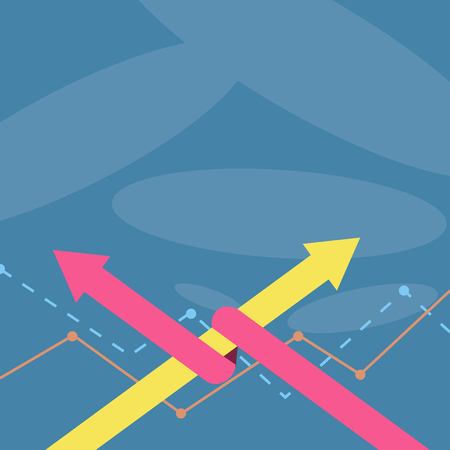 Two Arrows where One is Intertwined to the other as Team Up or Competition Design business concept Empty template copy space text for Ad website isolated. Ilustração
