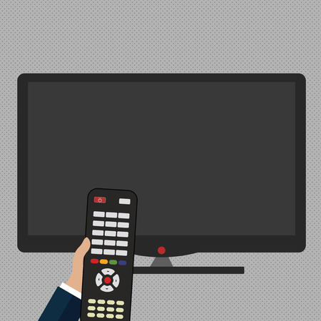Hand Holding Computer Remote Control infront of Blank Wide Color PC Screen Design business concept. Business ad for website and promotion banners. empty social media ad