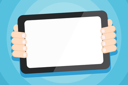 Color Tablet Smartphone with Blank Screen Handheld from the Back of Gadget Business concept Empty template copy space isolated Posters coupons promotional material
