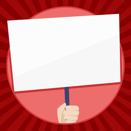 Mano que sostiene el cartel blanco en blanco con el apoyo de la manija para el negocio de diseño de conciencia social Texto de espacio de copia vacío para promoción de sitios web de anuncios Plantilla de banner aislado