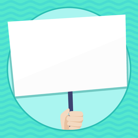 Hand Holding Blank White Placard Supported by Handle for Social Awareness Copy Space design Empty template text for Ad, promotion, poster, flyer, web banner, article