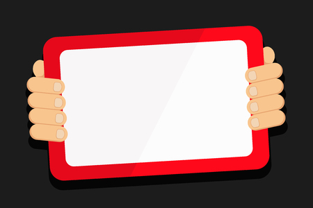 Color Tablet Smartphone with Blank Screen Handheld from the Back of Gadget Copy Space design Empty template text for Ad, promotion, poster, flyer, web banner, article Illustration