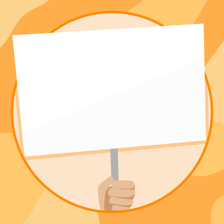 Hand Holding Blank White Placard Supported by Handle for Social Awareness Design business Empty template isolated Minimalist graphic layout template for advertising Stock Vector - 119346636