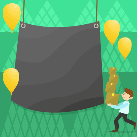 Man Carrying Pile of Boxes with Blank Tarpaulin in the Center and Balloons Business Empty template for Layout for invitation greeting card promotion poster voucher