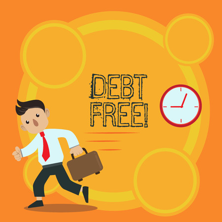 Writing note showing Debt Free. Business concept for does not owning any money or things to any individual or companies Man Carrying Briefcase Walking Past the Analog Wall Clock