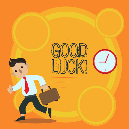 Writing note showing Good Luck. Business concept for used praising demonstrating or group for something done good way Man Carrying Briefcase Walking Past the Analog Wall Clock