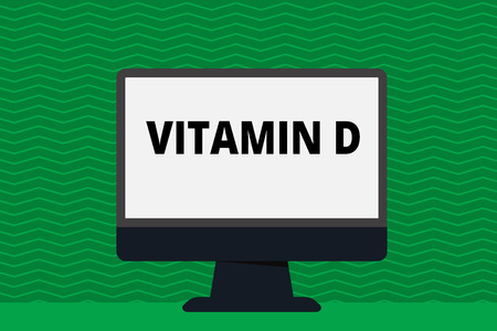 Writing note showing Vitamin D. Business concept for Benefits of sunbeam exposure and certain fat soluble nutriments Blank Desktop Computer Colorful Screen Freestanding on Table Фото со стока