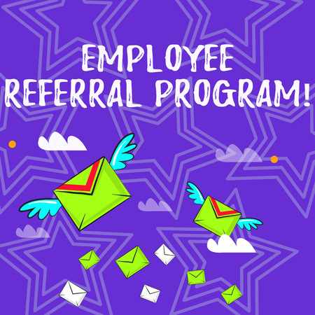 Text sign showing Employee Referral Program. Business photo text internal recruitment method employed by organizations Many Colorful Airmail Flying Letter Envelopes and Two of Them with Wings Stock Photo