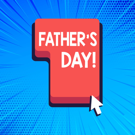 Writing note showing Father S Day. Business concept for day of year where fathers are particularly honoured by children Direction to Press or Click Command Key with Arrow Cursor 写真素材