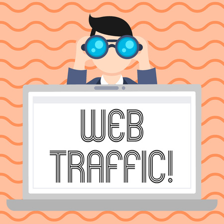 Conceptual hand writing showing Web Traffic. Concept meaning amount of data sent and received by visitors to website Man Holding and Looking into Binocular Behind Laptop Screen Foto de archivo
