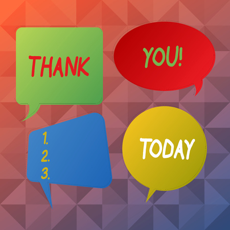 Word writing text Thank You. Business photo showcasing polite expression used when acknowledging gift service compliment Blank Speech Bubble Sticker in Different Shapes and Color for Multiple Chat Stock Photo