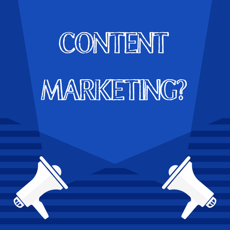 Text sign showing Content Marketing Question. Business photo showcasing involves creation and sharing of online material Blank Double Spotlight Crisscrossing Upward from Two Megaphones on the Floor