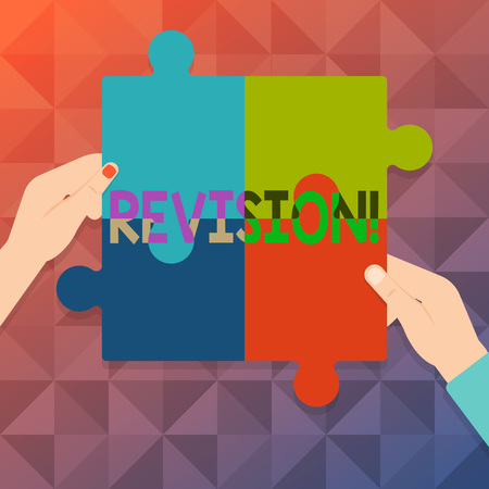 Word writing text Revision. Business photo showcasing Rechecking Before Proceeding Self Improvement Preparation Four Blank Multi Color Jigsaw Puzzle Tile Pieces Put Together by Human Hands Stock Photo