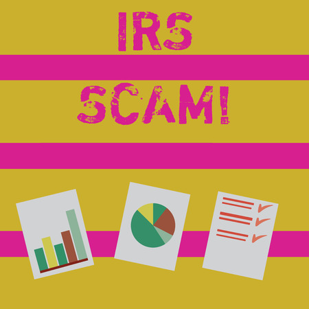 Word writing text Irs Scam. Business photo showcasing involve scammers targeting taxpayers pretending be Internal Service Presentation of Bar, Data and Pie Chart Diagram Graph Each on White Paper Banco de Imagens - 119457367
