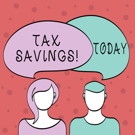 Word writing text Tax Savings. Business photo showcasing means that you pay reduced amount of taxes than normal Blank Faces of Male and Female with Colorful Blank Speech Bubble Overlaying