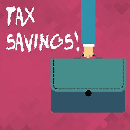 Word writing text Tax Savings. Business photo showcasing means that you pay reduced amount of taxes than normal Businessman Hand Carrying Colorful Briefcase Portfolio with Stitch Applique