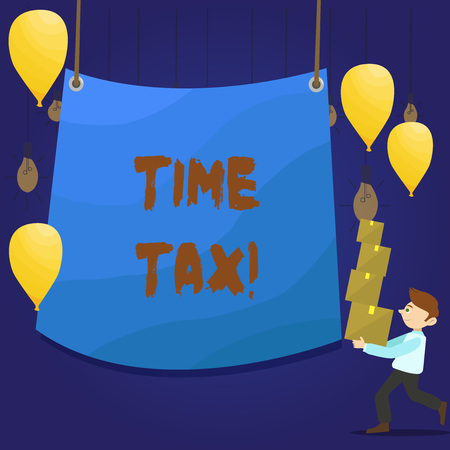 Writing note showing Time Tax. Business concept for when individual taxpayers prepare their financial statements Man Carrying Pile of Boxes with Tarpaulin in Center Balloons Фото со стока