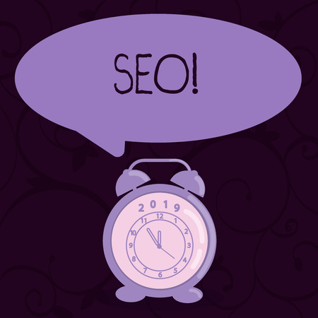 Conceptual hand writing showing Seo. Concept meaning Search engine optimization increase in online marketing channel Speech Balloon Pastel Shade and Colorful Analog Alarm Clock