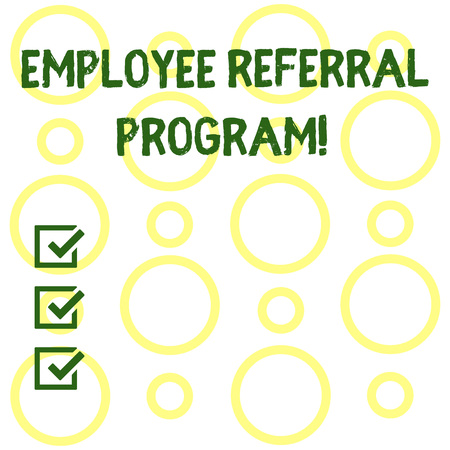 Conceptual hand writing showing Employee Referral Program. Concept meaning Recommend right jobseeker share vacant job post Seamless Pattern of Loop Rings in Random on White Isolated Banco de Imagens