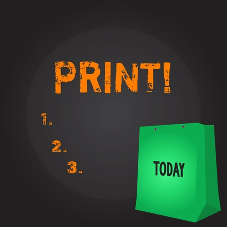 Conceptual hand writing showing Print. Concept meaning Produce letter numbers symbols on paper by machine using ink or toner Color Gift Bag with Punched Hole on Two toned Blank Space Stock Photo