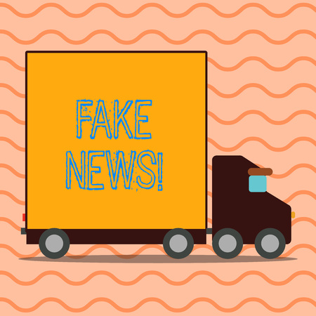 Handwriting text writing Fake News. Conceptual photo false stories that appear to spread on internet using other media Delivery Lorry Truck with Blank Covered Back Container to Transport Goods 写真素材