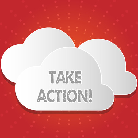 Conceptual hand writing showing Take Action. Concept meaning do something official or concerted to achieve aim with problem White Clouds Cut Out of Board Floating on Top of Each Other
