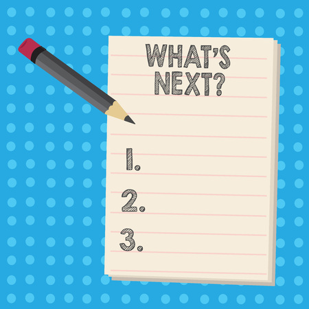 Writing note showing What S Next Question. Business concept for asking demonstrating about his coming actions or behaviors Pencil with Eraser and Pad on Two Toned Polka Dot Background Stock fotó