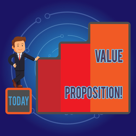 Writing note showing Value Proposition. Business concept for innovation service intended make product attractive Businessman Presenting Growth and Success in Graph Columns