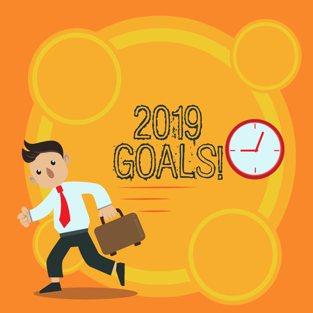 Writing note showing 2019 Goals. Business concept for something you hope to achieve or get in near or far future Man Carrying Briefcase Walking Past the Analog Wall Clock Stock Photo