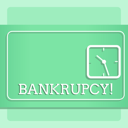 Writing note showing Bankrupcy. Business concept for Company under financial crisis goes bankrupt with declining sales Modern Design of Square Clock on Two Tone Pastel Backdrop Stock Photo