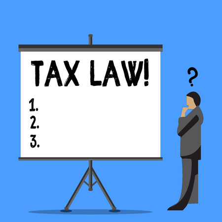 Word writing text Tax Law. Business photo showcasing governmental assessment upon property value or transactions Businessman with Question Mark Above his Head Standing Beside Blank Screen