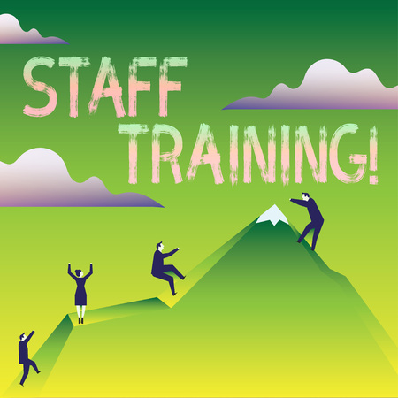 Word writing text Staff Training. Business photo showcasing learn specific knowledge improve perforanalysisce in current roles Business People Climbing Color Mountain by Themselves Holding Invisible Rope