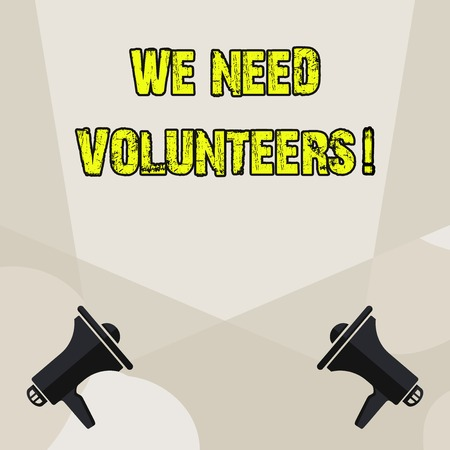 Conceptual hand writing showing We Need Volunteers. Concept meaning someone who does work without being paid for it Blank Spotlight Crisscrossing Upward Megaphones on the Floor Banque d'images - 119465451