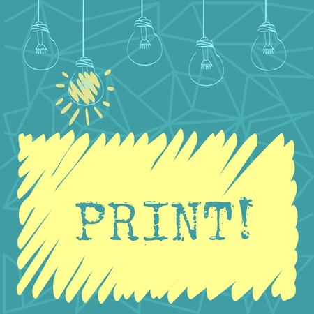 Handwriting text Print. Conceptual photo Produce letter numbers symbols on paper by machine using ink or toner Set of Transparent Bulbs Hanging with Filament and One is in Lighted Icon