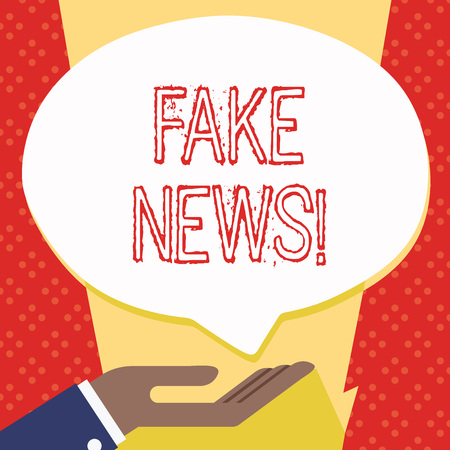 Text sign showing Fake News. Business photo showcasing false stories that appear to spread on internet using other media Palm Up in Supine Position for Donation Hand Sign Icon and Speech Bubble 写真素材 - 119465486