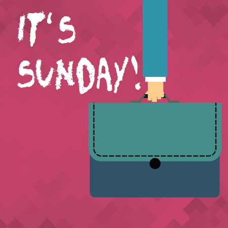 Word writing text It S Sunday. Business photo showcasing day of week between Saturday and Monday rest in most countries Businessman Hand Carrying Colorful Briefcase Portfolio with Stitch Applique Banco de Imagens