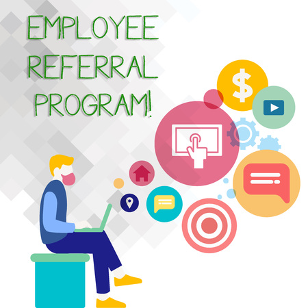 Text sign showing Employee Referral Program. Business photo showcasing Recommend right jobseeker share vacant job post Man Sitting Down with Laptop on his Lap and SEO Driver Icons on Blank Space