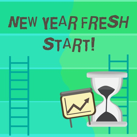 Writing note showing New Year Fresh Start. Business concept for Time to follow resolutions reach out dream job Growth Chart with Arrow Going Up and Hourglass Sand Sliding