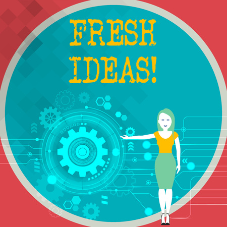 Text sign showing Fresh Ideas. Business photo showcasing thought or suggestion as to a possible course of action Woman Standing and Presenting the SEO Process with Cog Wheel Gear inside 版權商用圖片
