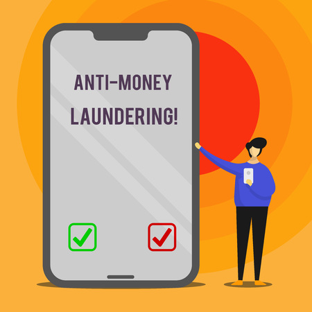 Word writing text Anti Money Laundering. Business photo showcasing regulations stop generating income through illegal actions Man Presenting Huge Blank Screen Smartphone while Holding Another Mobile