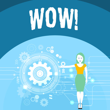Writing note showing Wow. Business concept for Expression of somebody speechless amazed overjoyed Woman Presenting the SEO Process with Cog Wheel Gear inside