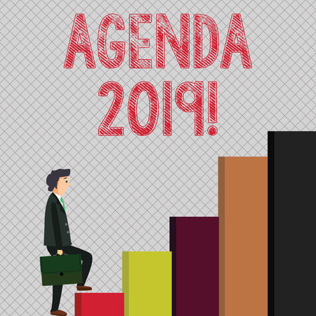 Writing note showing Agenda 2019. Business concept for list of items to be discussed at formal meeting or event Man Carrying a Briefcase in Pensive Expression Climbing Up