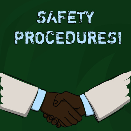 Word writing text Safety Procedures. Business photo showcasing Follow rules and regulations for workplace security Businessmen Shaking Hands Firmly as Gesture Form of Greeting and Agreement Imagens